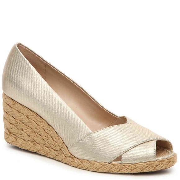 ec75c10c2eee Adrienne Vittadini Shoes - Adrienne Vittadini Bailee Wedge Pump Gold  Metallic
